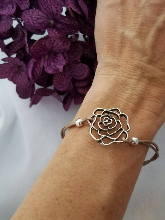 Leather Wrap Bracelet, Silver Rose Flower Charm, Flower Bracelet, Rose Gold Leather, Slip Knot Bracelet, Leather Bracelet, Gifts for Women