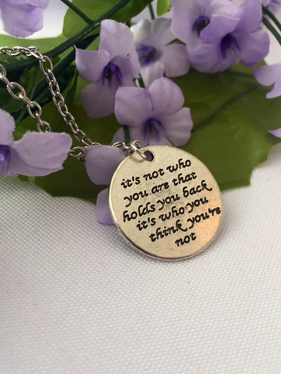 Running Jewelry, CrossFit Gifts, It's Not Who You Are That Holds You Back Silver Charm Necklace, Inspirational Quotes, Motivational Sports