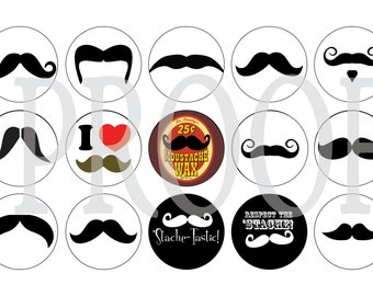 Digital Bottle Cap Image Sheet - Mustache - 1 Inch Digital Collage - Instant Download