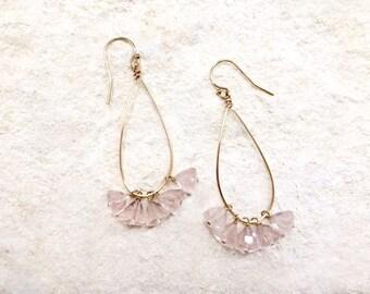 Rose Quartz Teardrop Hoop Earrings, 14k gold-fill