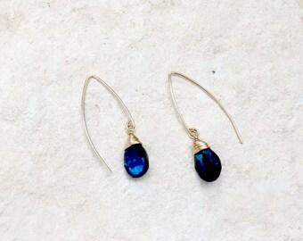 Blue Labradorite Hook Earrings, 14k gold-fill