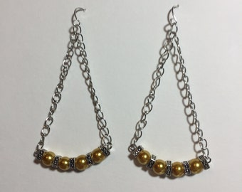 Pretty and simple handmade silver and gold chain earrings - Free Shipping