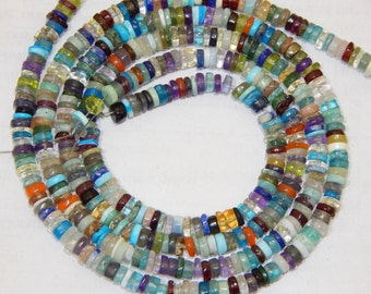 Multi Stone Tyre Beads Shape 4x4.5 mm Approx Good Quality