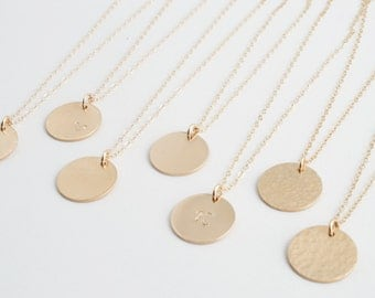 Personalized Disk Necklace, Dainty Gold Necklace, Gold RoseGold Silver Tag, Gold Pendant, DN13.1