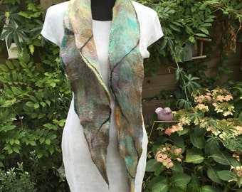 Hand-felted Merino Wool with silk thin scarf in beautiful dyed ...