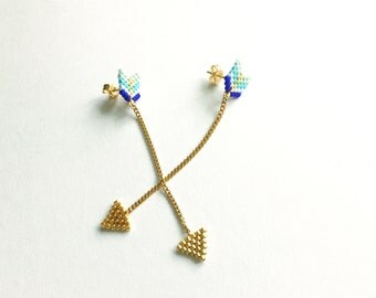 Woven arrow earrings was handmade beads japonnaises and gold chain.