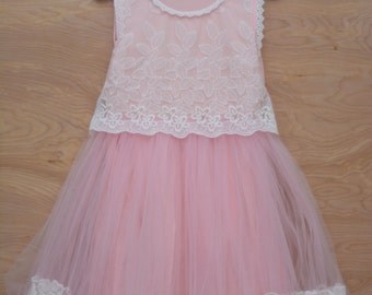 Girls pink tulle and lace dress age 3-4
