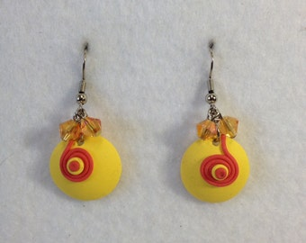 PRICE REDUCED!!!  Spring Earrings-Coral/Yellow