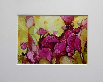 5 x 7 Alcohol Ink on Yupo Paper     Floral Magenta Abstract