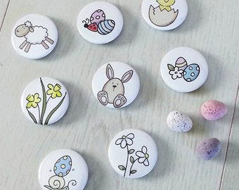 Cute Easter Badges - Set of 8 Easter Party Favours - Spring Buttons Pins