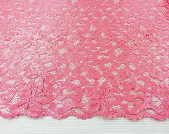 Punch pink lace fabric
