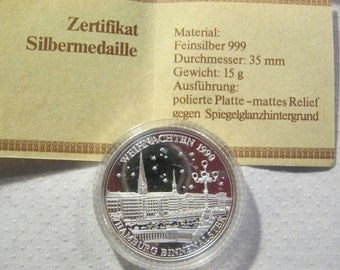 Silver medal fine silver 999, diameter 35 mm, polished plate, weight 15 gram, boxed, Christmas 1990, inland Alster Hamburg