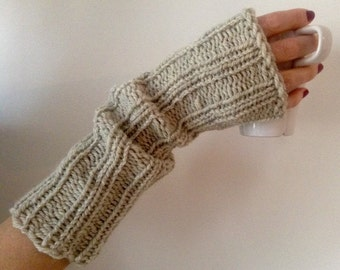 Long light grey wool and alpaca mittens