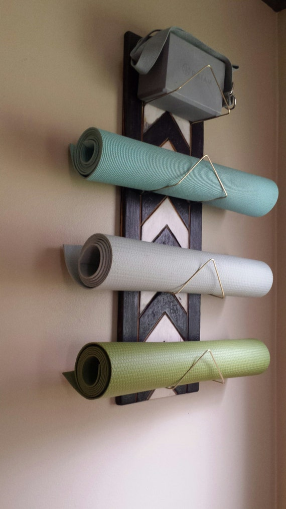 4 Tier Chevron Yoga Mat Holder Silver Rods Only Wall