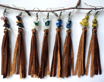 Brown Long Leather Tassel Earring - Rustic Leather Earring - Long Fringe Earring - Boho Earring - Lapis Lazuli - Recycled Leather Jewelry