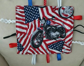 Motorcycle-flag- teething toy-sensory toy-crinkle toy -baby shower gift- red - white - blue