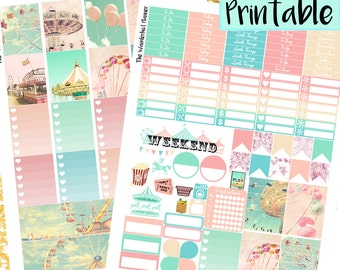 Vintage Carnival Printable Planner Sticker Kit | Circus Stickers, Printable PDF for Erin Condren Lifeplanner/ Mambi, INSTANT DOWNLOAD