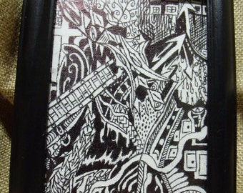 Abstract ink drawing on paper/canvas, black and white
