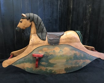 Antique Wooden Rocking Horse - Vintage Handcarved Carousel Type