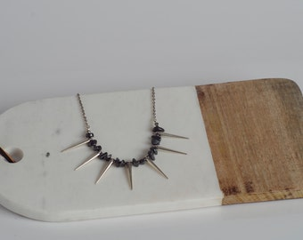 Hematite, Spikes, and White Gold Plated Chain Necklace. Edgy. Modern. Unique. Made to Order.