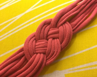 Upcycled Sailor Knot Headband - Pink