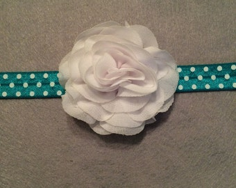 White and Blue Flower Headband