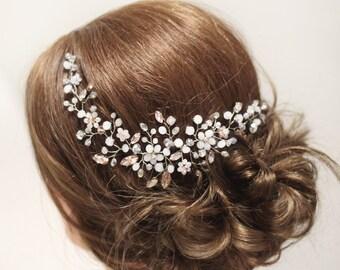 Bridal Hair Vine Wedding Hair Piece Bridal Haedpiece Wedding Haedpiece Wedding Hair Vine Flower hair piece Rose Crystal Bridal adornment