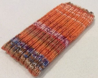 Knitted iPhone sock for 6 or 6S, smartphone cover case, orange blue