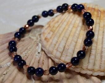Blue Goldstone and Copper colour Beaded Bracelet
