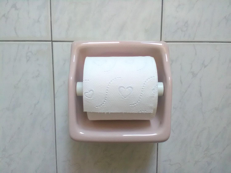 Vintage Pink Ceramic Toilet Paper Holder Bathroom