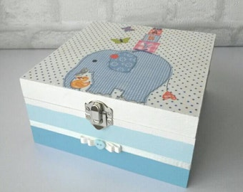 Baby boy memory box, baby boy keepsake box, new baby gift, decoupaged box, new baby boy, nursery decor, blue elephant box