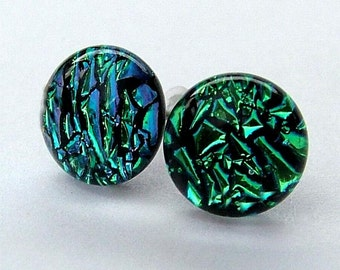 Dichroic Glass and 925 Sterling Silvee Stud earrings ~ Emerald Isle