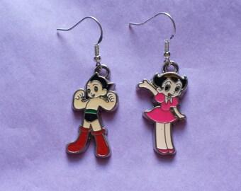 Funky Retro Kitsch Astro Boy Uran Astro Girl dangle earrings
