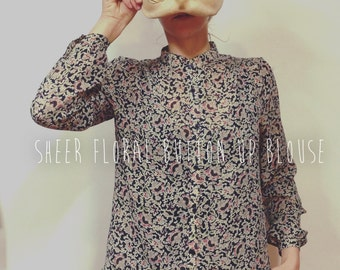 Sheer button up blouse / floral long sleeve blouse / sheer floral blouse