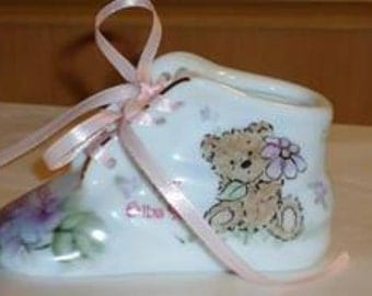 Customized Porcelain Baby Shoe  Birth Keepsake- painted to your specifications