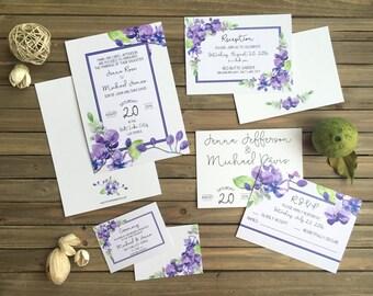 Watercolor Orchid Wedding Set