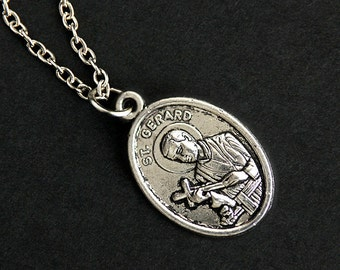 Saint Gerard Necklace. Catholic Saint Necklace. St Gerard Medal Necklace. Patron Saint Necklace. Christian Jewelry. Religious Necklace.