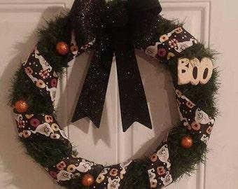 22 inch Boo Halloween wreath