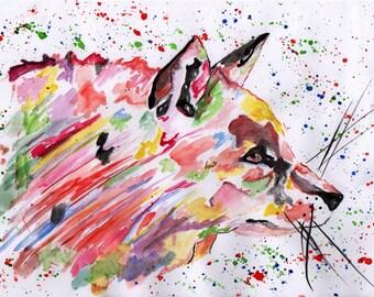 Watercolour fox print. Fox watercolour. Nursery wall art. Original