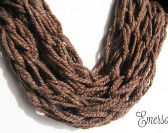Barley (Brown Tweed) Chunky Knitted Cowl Scarf