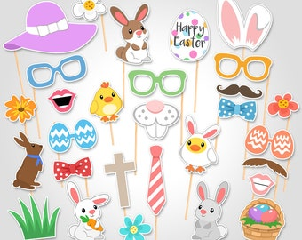 Easter Party Celebration Printable Photo Booth Props - Easter Party Photobooth Props - Easter Bunny Props