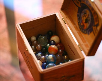 Vintage Cigar Box with Marbles