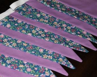 Long bunting, floral print, lilac, lavender garden
