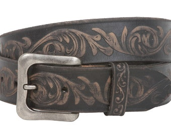 Snap On Soft Hand Floral Embossed Vintage Cowhide Full Grain Leather Casual Belt(100901)