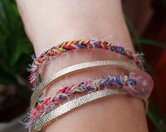 Delicate Bracelet Multicolored Silk , Gold Leather And Pink Quartz