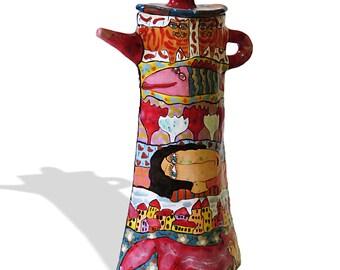 Majolica teapot, Ceramic teapot, painted teapot, teapot a decorated, teapot with decor, Pottery teapot, Ceramics and pottery Tea Set