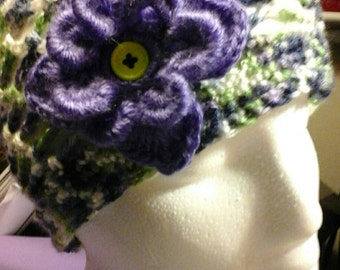 Purple and Green Vintage Style Hat