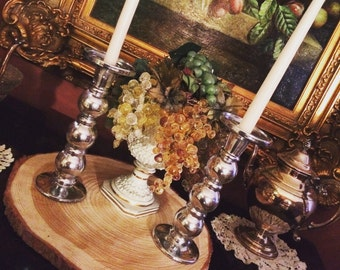 Silver Glass Candle Holders Set of 8