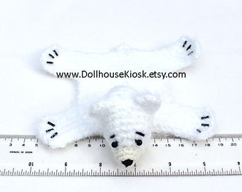 Dollhouse Miniature Knitted Bear Skin Rug - White - Limited Edition