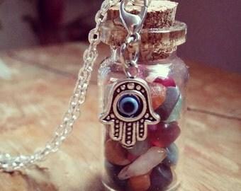 Fairy Jar Necklace with Hamsa Hand Charm